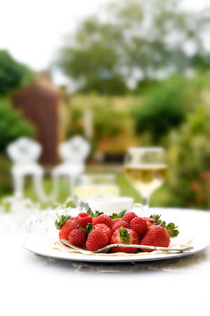 accommodation space: Fresh summer fruits with selective focus against a garden setting. Generous accommodation for copy space.