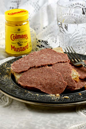 the existing: NOTTINGHAM, UK - JULY 30, 2016: Colmans is an English manufacturer of mustard and other sauces, based in Norwich, Norfolk. Colmans is one of the oldest existing food brands. Editorial
