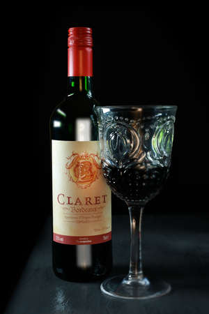 bordeaux region: NOTTINGHAM, UK - NOVEMBER 16, 2016: Claret is a Bordeaux wine and is produced in the Bordeaux region of France, centred on the city of Bordeaux. Editorial