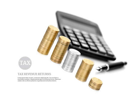 Concept image for tax and revenue returns. Stacked coins and a calculator set against a white background with generous accommodation for copy space. Stock Photo