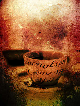 classic art: Grunge effect image of classic coffee cup ideal for your bistro or restaurant wall art or coffee menu cover design art. Generous accommodation for copy space. Stock Photo