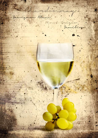 chilled: Grunge graffiti effect image of classic chilled French white wine ideal for your bistro or restaurant wall art or menu cover design art. Generous accommodation for copy space. Stock Photo