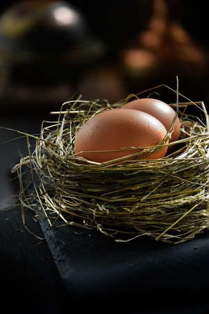 forcing: Fresh free range eggs against a rustic background in birds nest. Becoming more scarce in UK as Bird Flu risk is forcing farmers to house their hens indoors and therefore cannot claim free range egg produce.