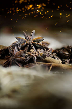 generosa: Cinnamon and star anise shot against a dark and rustic background with generous accommodation for copy space. Perfect for your upcoming festive holiday cover art. Foto de archivo