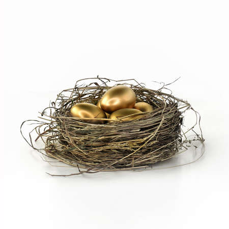 Gold eggs in a bird nest shot against a white background. Concept image for financial investment, pension savings and future income. Generous accommodation for copy space. Stock Photo