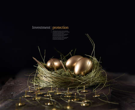 Stylish, high-resolution concept image for financial investment protection. Landscape orientation for magazine, brochure cover. Unique image and design with creative lighting emphasing security. Copy space. Фото со стока