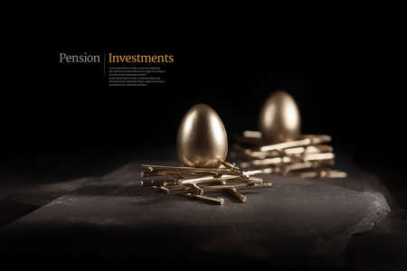 Creative, modern concept image for pension investments and asset management. Gold bird eggs on stark nests shot against a dark, slate background with accommodation for copy space. Standard-Bild