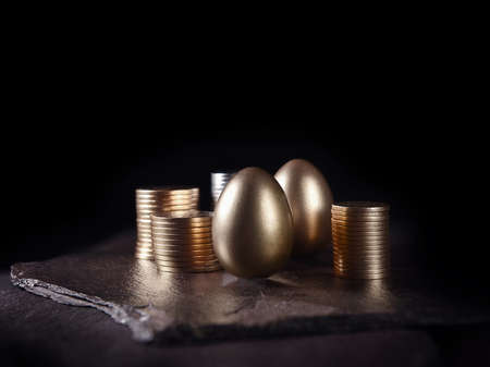 Unique, original creative concept image for financial investments. Gold eggs and stacked coins shot against black, on slate, with copy space. Standard-Bild