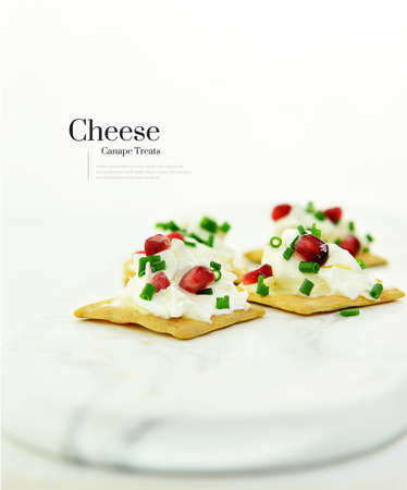 Fresh, bright image of thick generous cream cheese canapes with chives and pomegranate seed garnish on Spelt crackers shot against white. The perfect image for your restaurant appetizer menu cover art. Standard-Bild