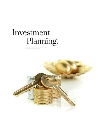 Original and unique concept image for investment planning and savings. Stacked coins with golden keys and gold pension eggs placed in a gold scallop shell. Differential focus. Copy space.