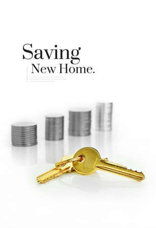 New and unique concept image for saving for a new home or real estate. Differential focus and copy space. Standard-Bild
