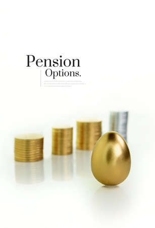 Unique and original modern concept image for pension options and pension savings. Shot against a white backgrouind with differential focus and generous accommodation for copy space.