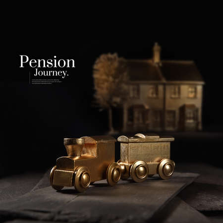 A unique and original concept image depicting pension investment journeys and financial transfers. Image whor with creative lighting with generous accommodation for copy space. Standard-Bild
