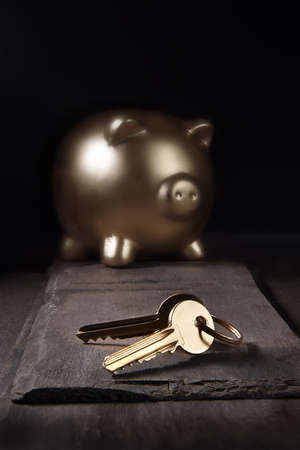 A unique and original property investment image depicting a gold piggy bank and house keys shot against a dark background on slate with generous accommodation for copy space.. Standard-Bild