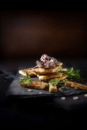 Creatively lit, rustic farmhouse Brussels pate with Gouda cheese crackers and thyme, shot against a rustic background with copy space. The perfect image for your appetizer menu cover art designs. Standard-Bild