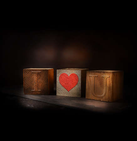 Novel concept image for Valentines Day or a romantic theme. Rustic wooden blocks with the leters I love - heart - You. Creatively lit and having a generous accommodation for copy space.