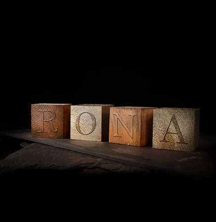 Concept-image for Return On Net Assets termed RONA. Stained and gold wooden blocks with embossed initials of RONA shot against a rustic background with accommodation for copy space.
