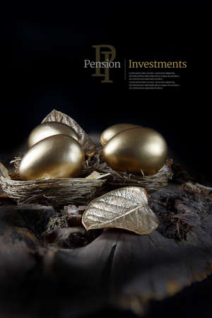 Concept image for pension investments and savings. Gold painted eggs in bird nests with gold leaves shot against a black background with generous copy space. Illustrative display text can easily be removed from the image.