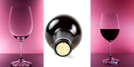 collage of three pics with wine glasses and a bottle Stock Photo - 7753139