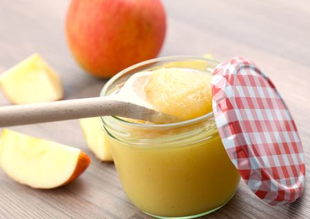 compote: fresh apple puree in glass Stock Photo