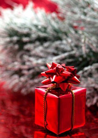 glanz: rotes Weihnachtsgeschenk vor gruener Tanne  red christmas gift in front of green pine