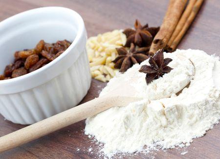 farina: christmas spicery and farina on table