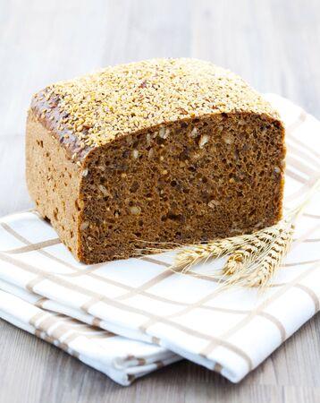 dishtowel: fresh rye bread on dishtowel