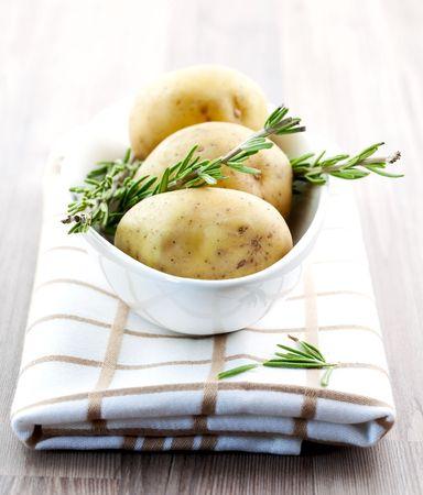 fresh potato in bowl on table photo