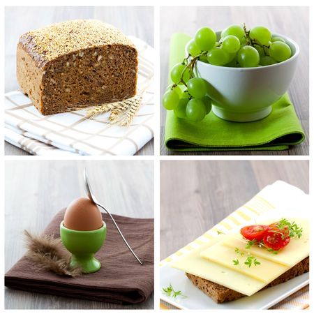 collage of picture with bread, egg and grapes  photo