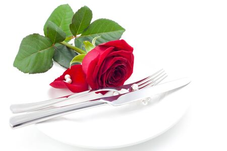 place setting with red rose Stock Photo - 7921658