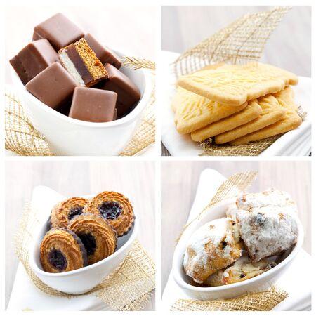 christmas cookies: een collage van vier christmas cookies