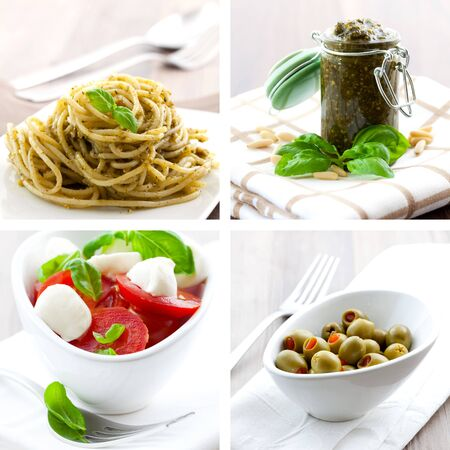 italien: collage of four pictures of italien food