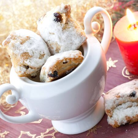 comfit: stollen in a white bowl Stock Photo