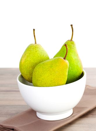 three charneux pears in a bowl