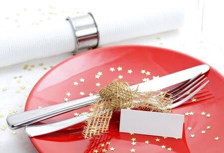 christmas dinner: table set for christmas dinner