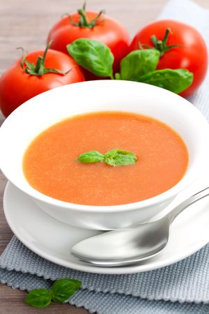 vegetable soup: fresh tomato soup in a bowl