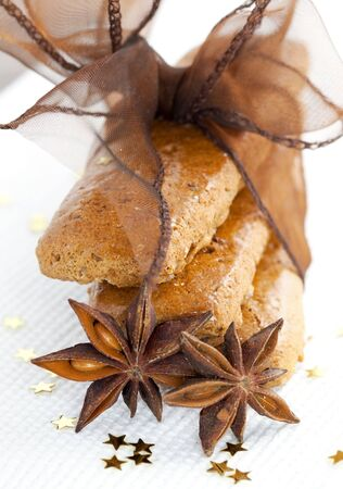 gingerbread with bow and anise  photo