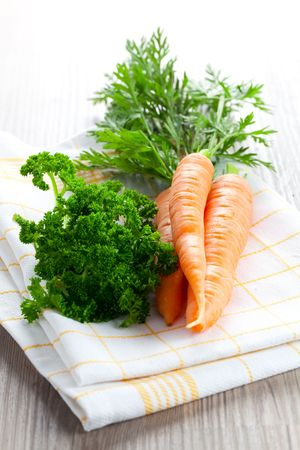 dishtowel: carrots and parsley on dishtowel