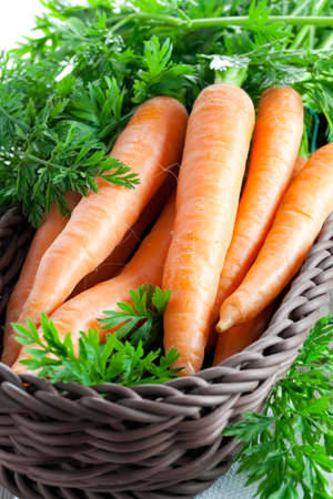 fresh carrot in a basket  photo