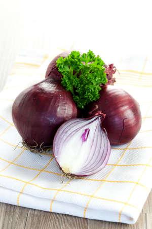 dishtowel: red onions with parsley on dishtowel