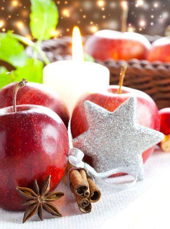 manzana, canela y an�s con decoraci�n de Navidad  Foto de archivo - 8132342