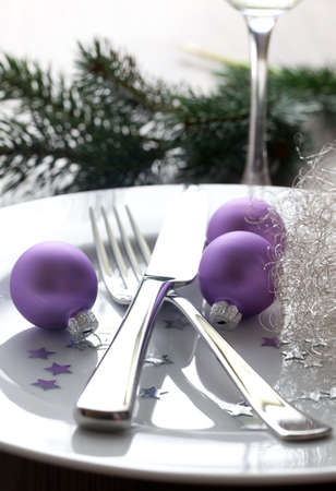 christmas place setting for christmas  photo
