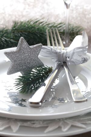 place setting for christmas with star  photo