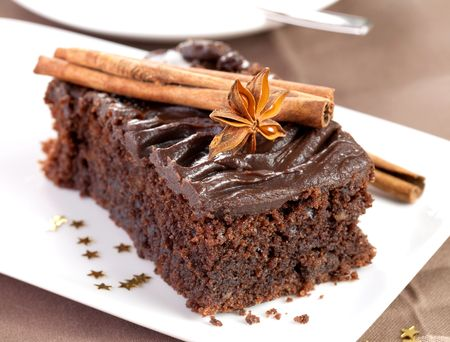 spice cake: christmas chocolate cake with decoration  Stock Photo