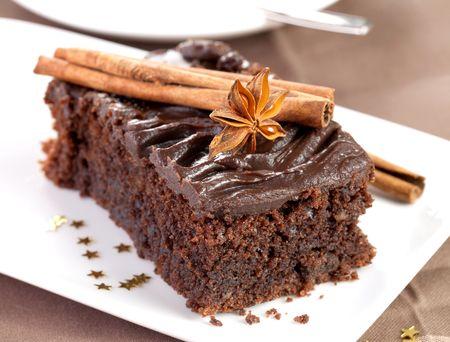 noel chocolat: g�teau de f�te au chocolat avec d�coration