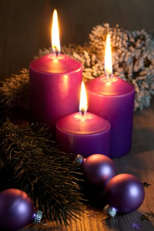 christmas picture with three candles  Stock Photo - 8219554