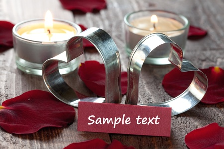 two hearts and candles with copy space Stock Photo - 8325418