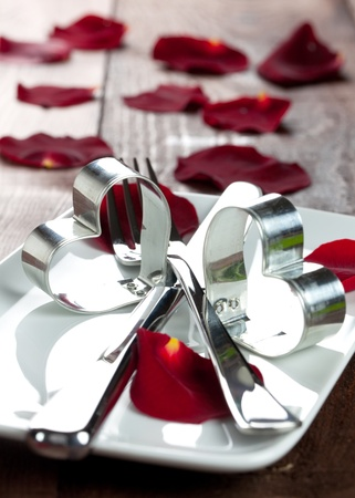 place setting for valentines day with petals Stock Photo - 8325459
