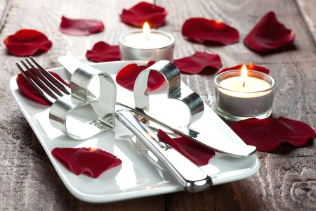 place setting for lovers with rose petals  Stock Photo - 8325492