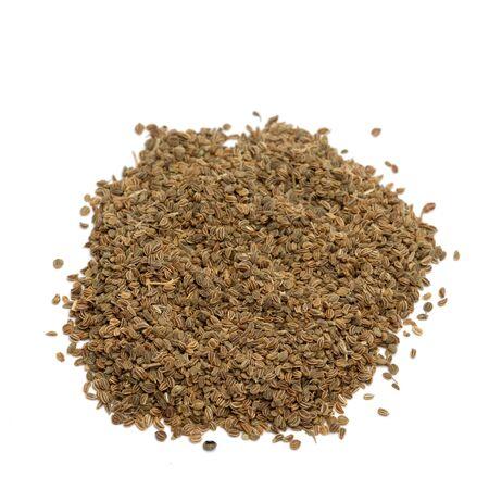 apio: semillas de apio aislados sobre fondo blanco  Foto de archivo